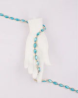 Water Gold Plated Leaf shaped Blue stones Plastic base Chain