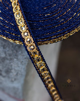 Thin Zari Lace -Dark Blue
