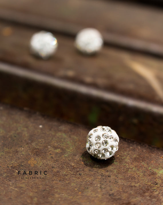 Rhinestone Studded Ball Button-White