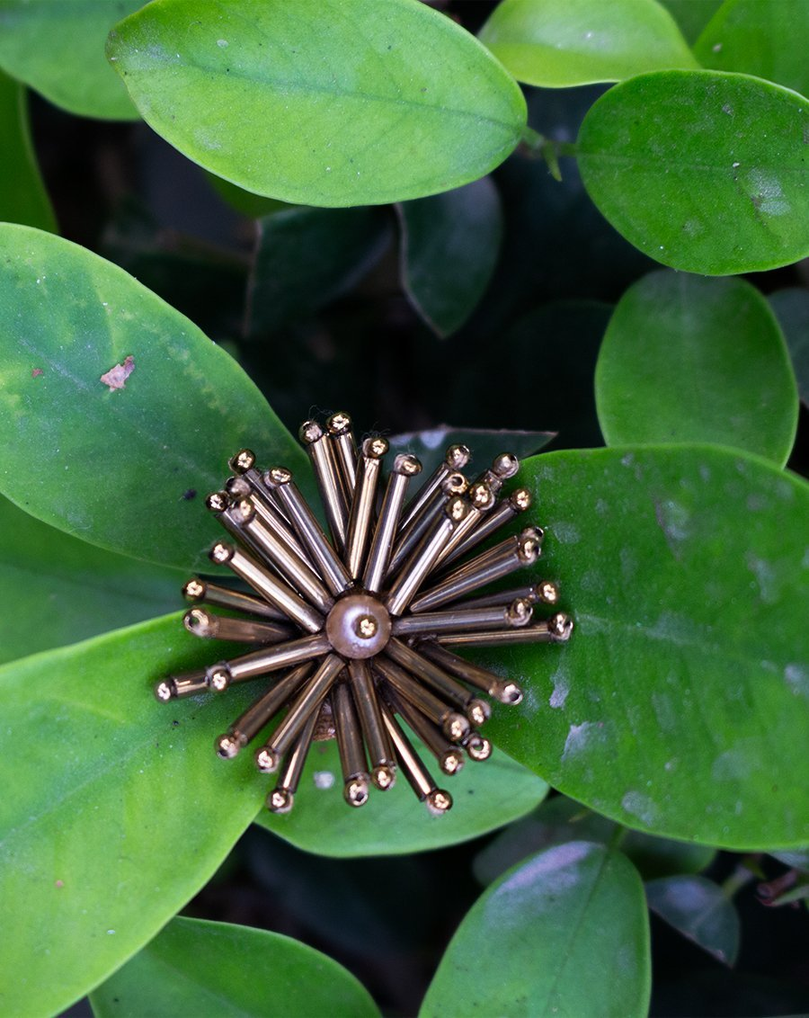 Handmade Bugle Bead Star Patch-Copper