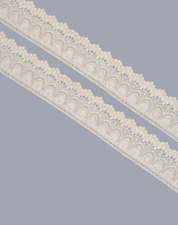 Dyeable cotton scallop and flower lace