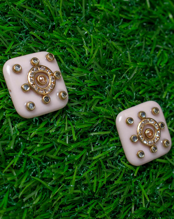 Light Pink White Soft Square Designer metal embellished button