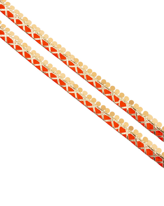 Gota work lace with sequin hanging Border-Orange