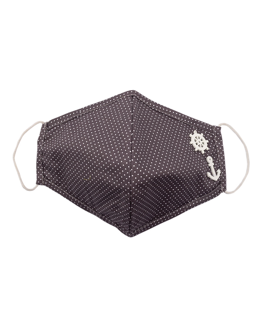 Grey polka mask with anchor patch