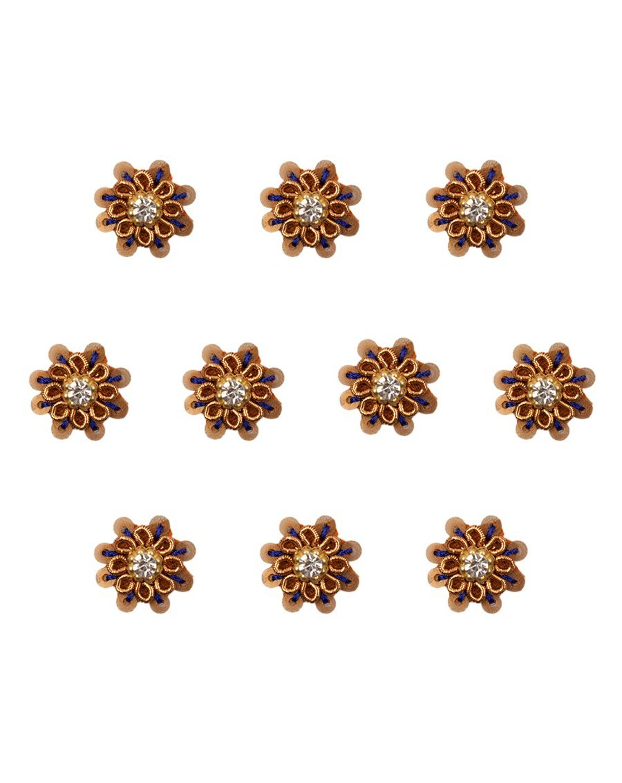 Sequins and rhinestone flower Patch-Blue