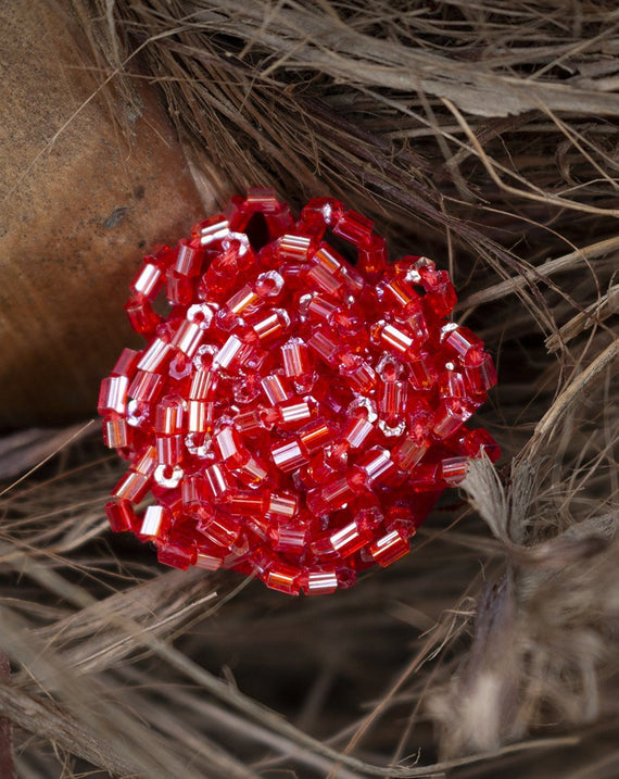 Handwork Buggle Bead Button--Red.