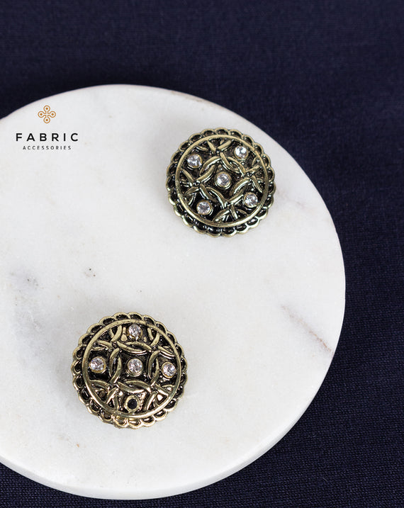 Designer round metal buttons decorated with rhinestones-Antique Golden