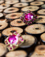 Crystal Metal button decorated with rhinestones-Pink