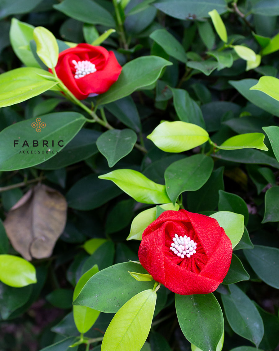 Closed Flower Fabric Patch-Red