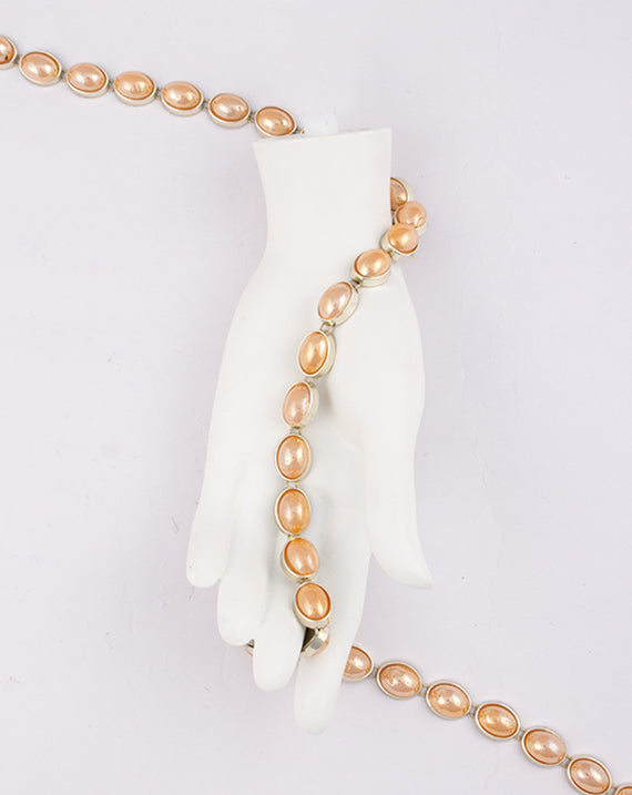 Water Gold Plated Peach Oval Stones Plastic base Chain