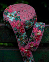 Net based lace in floral design embroidery-Pink&Blue