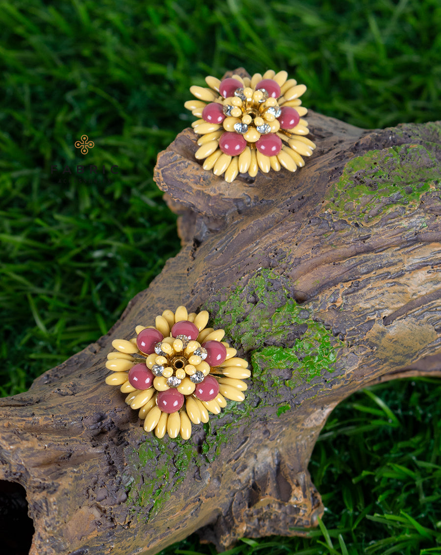 Designer floral  metal buttons decorated with rhinestones-Yellow&Pink