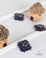 Designer floral  metal buttons decorated with rhinestones-Navy Blue