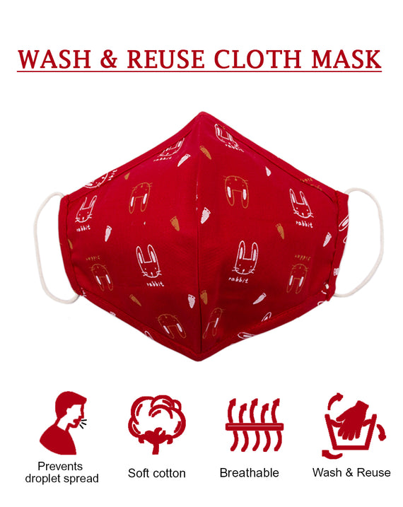 Red cat print face mask