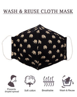 Black elephant print face mask