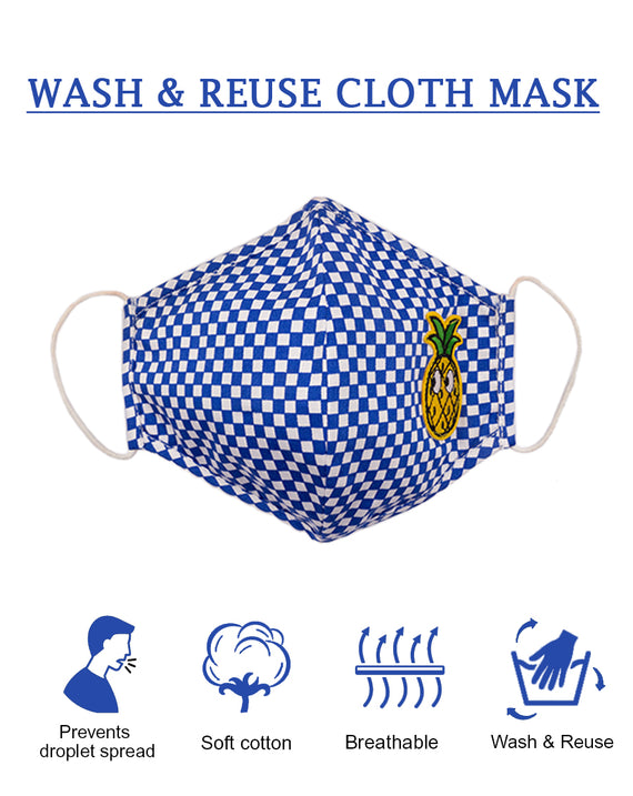 Blue Check Mask with Pineapple patch