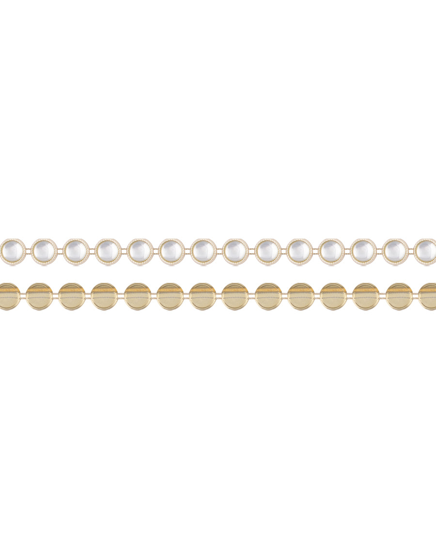 Water Gold Plated Round white stones Plastic base Chain