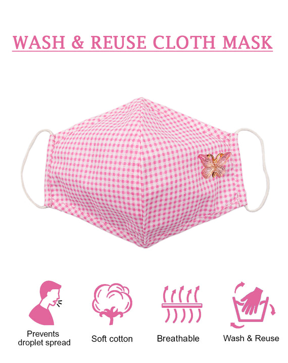 Pink Check Mask with Butterfly patch