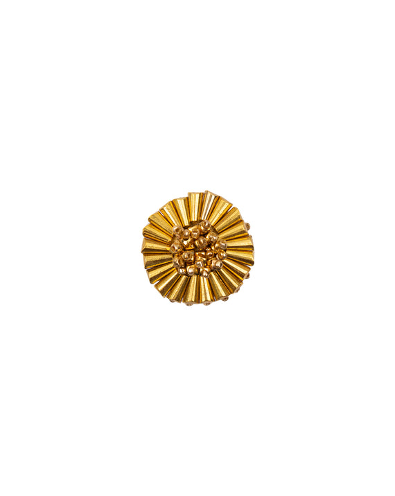 Handmade bugle bead button-Bright Gold