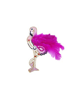 Handmade embroidery patch Flamingo Feather Bird-Pink