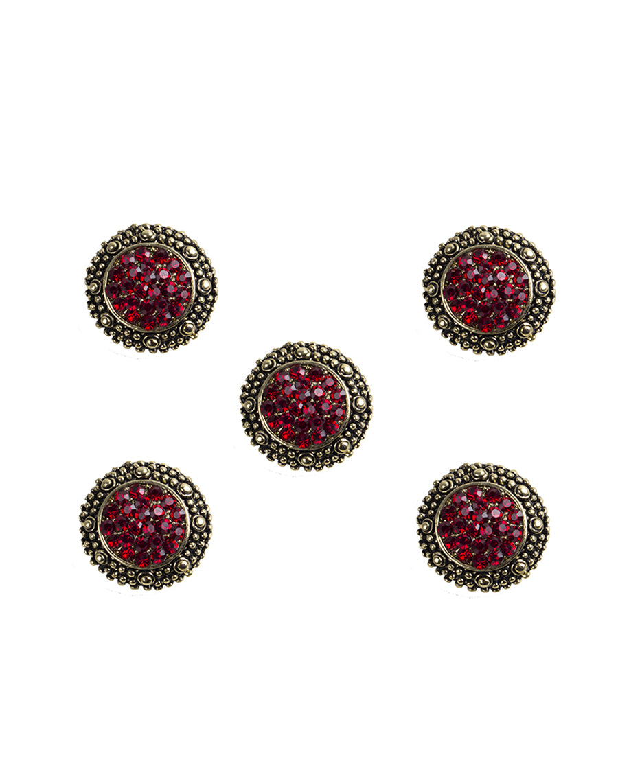 Mauli - Red & Gold Metal Buttons