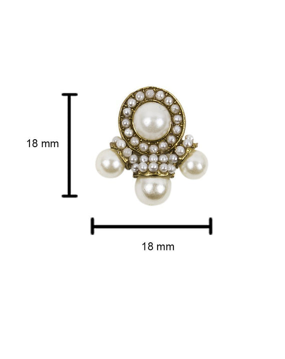 Ruhani- White Pearl stone button