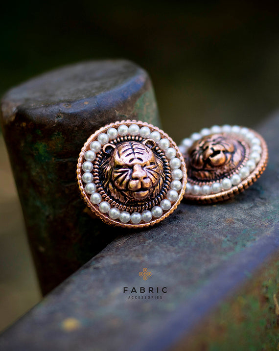 Sabya Tiger Button - Rose Gold