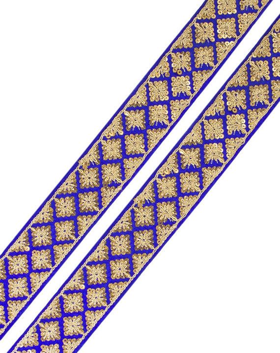 Aakifa- Royal Blue Sequins Lace