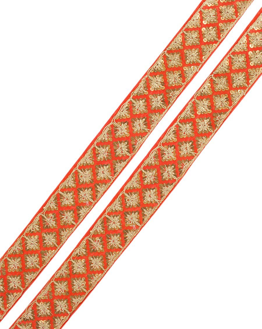 Aakifa- Orange Sequin Lace