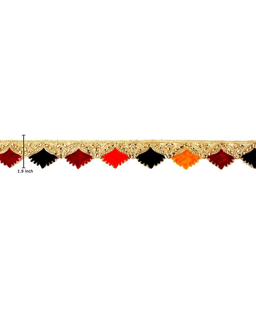 Baali- Multi Colour Velvet Flower Lace