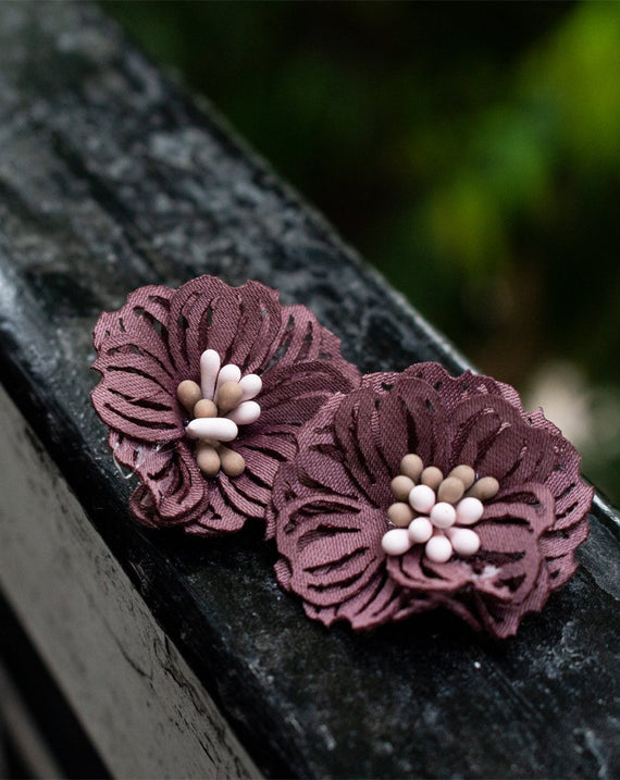 3D Flower Applique for embroidery Brown
