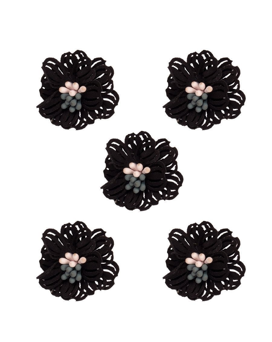 3D Flower Applique for embroidery Black