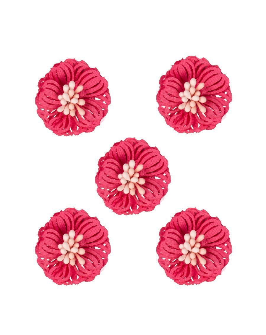 3D Flower Applique for embroidery Pink