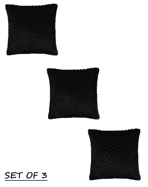 Velvet Black on Black Polka Dot Cushion Cover