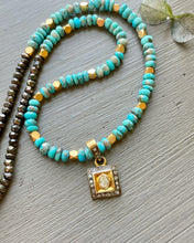 Load image into Gallery viewer, Rose Cut Diamond Charm and Turquoise Necklace