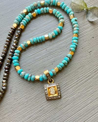 Rose Cut Diamond Charm and Turquoise Necklace