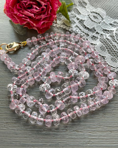 Morganite Candy Necklace 14k Gold Made to Order