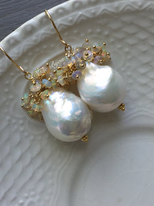 Baroque Pearl Earrings with Ethiopian Opals