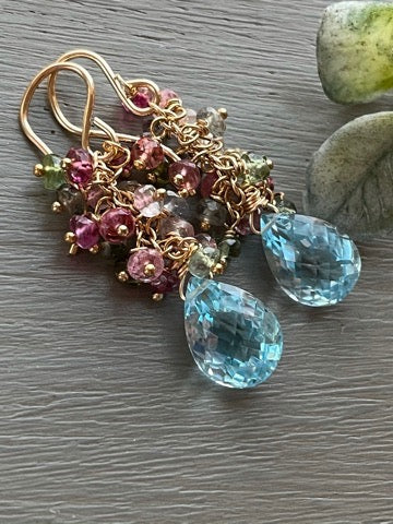 Blue Topaz Cluster Earrings
