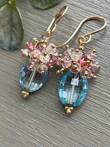 Reserved for Christine-Blue Topaz Oval Cluster Earrings