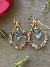 Load image into Gallery viewer, Blue Topaz Tear Drop Chandelier Earrings