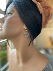 Blue Topaz Tear Drop Chandelier Earrings