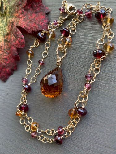Citrine Tear Drop Station Necklace