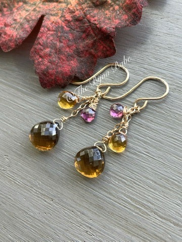 Beer Quartz Garnet and Citrine Short Tassel Earrings