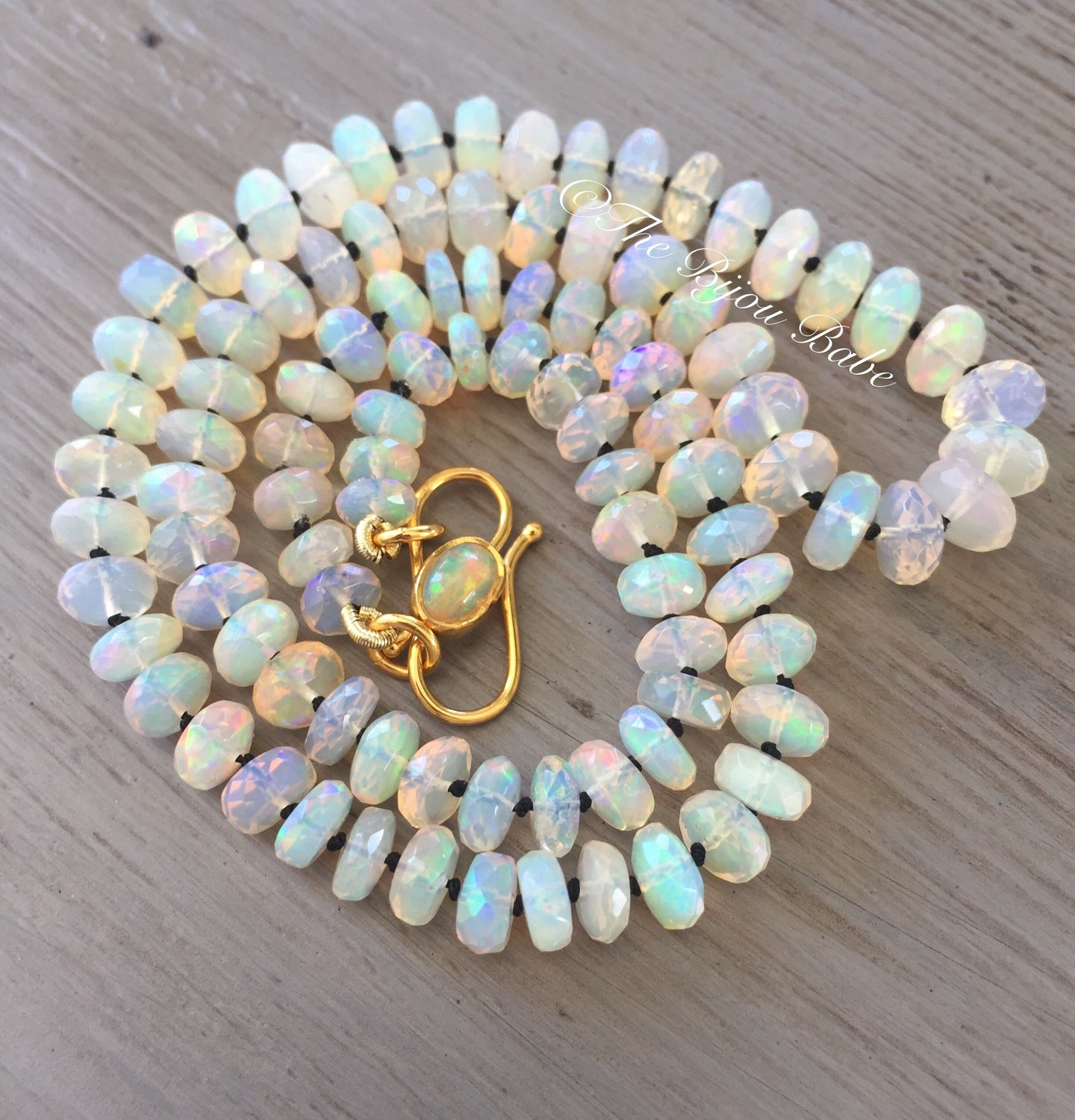 Reserved: Please do not purchase 18kt Gold Faceted Ethiopian Opal Necklace