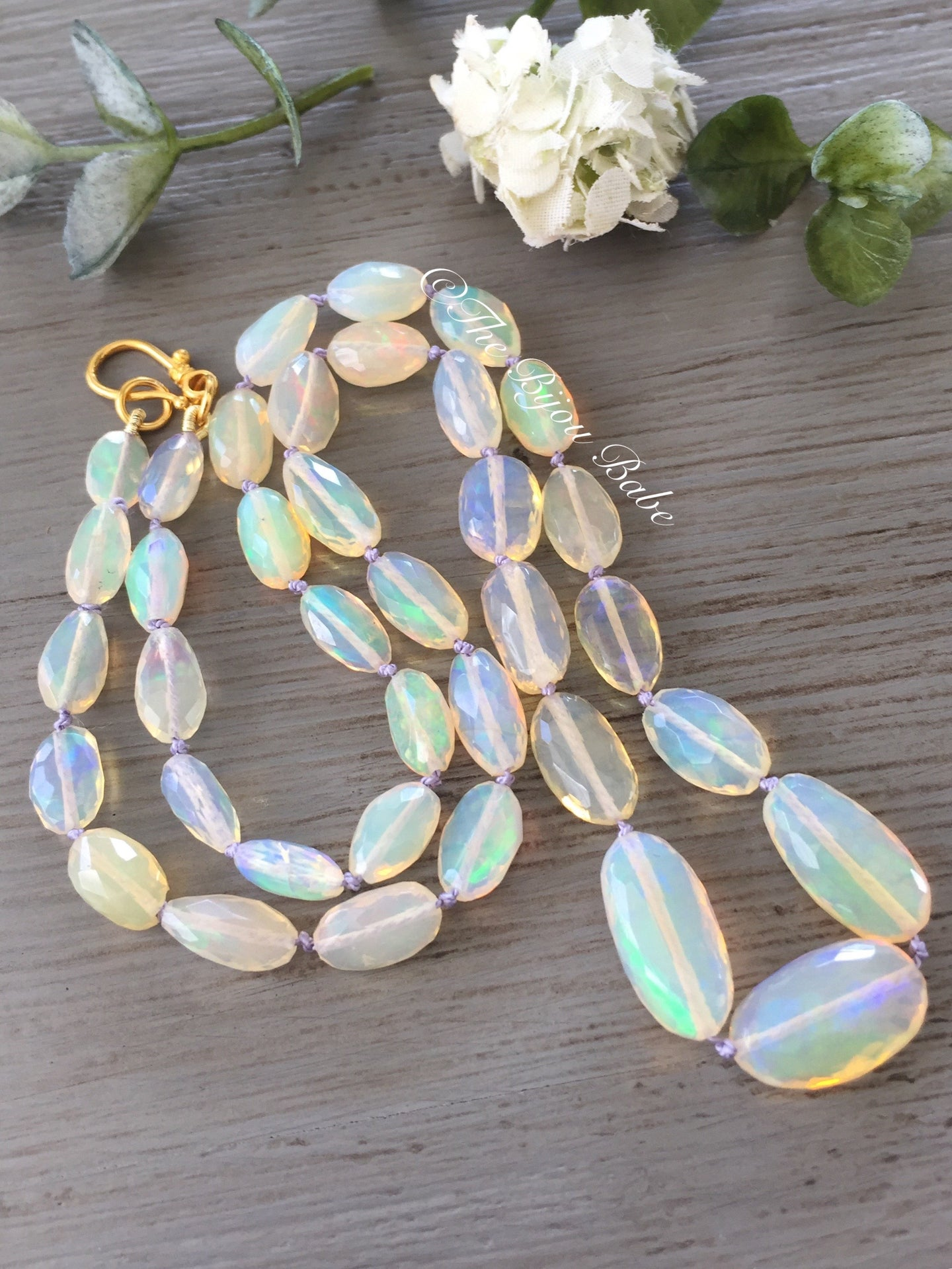 Faceted Ethiopian Opal Nugget Necklace