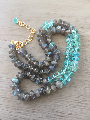 Labradorite and Apatite Hand Knotted Silk Necklace