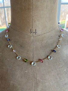 Blue Topaz and Multi Gemstone Necklace