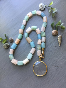 Aquamarine Tube Bead Necklace