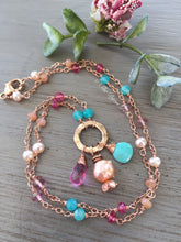 Load image into Gallery viewer, Pink Topaz and Turquoise Necklace Rose Gold Filled